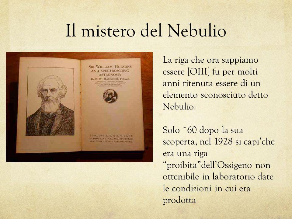 Il mistero del Nebulio La riga che ora sappiamo essere [OIII] fu per molti anni ritenuta essere di un elemento sconosciuto detto Nebulio.